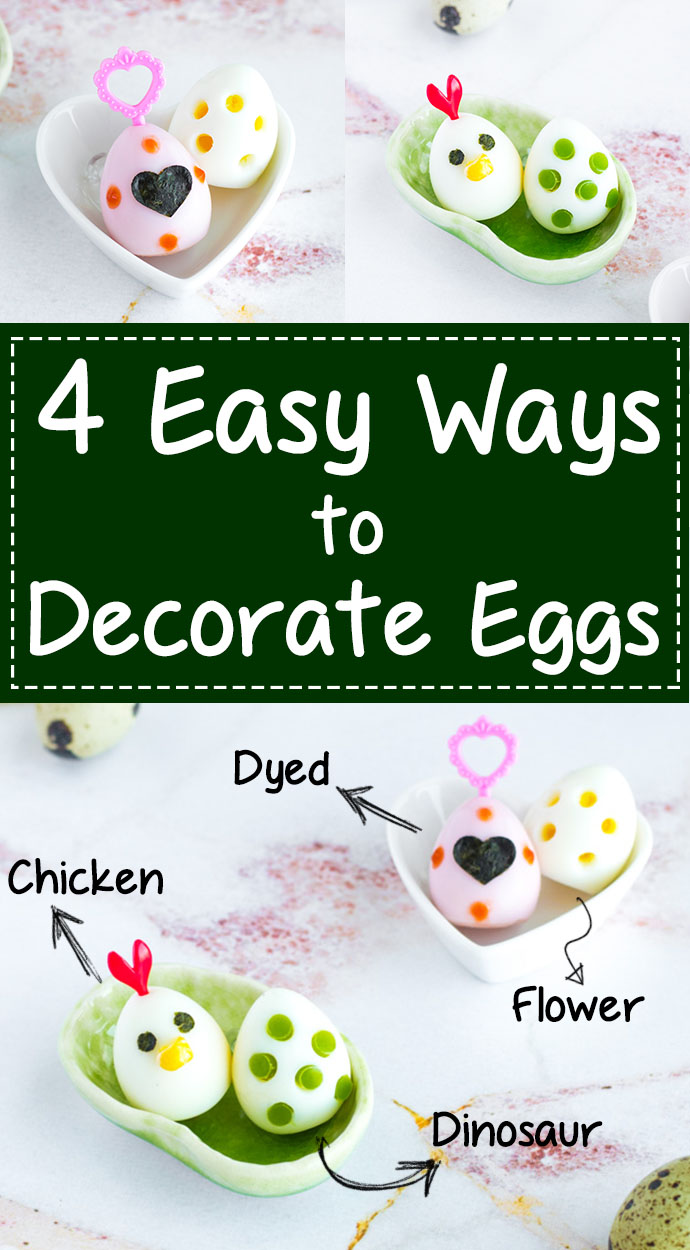 4 Ways to Decorate Eggs - Step-by-step tutorial (+ video!) for making colored eggs, dinosaur eggs, flower eggs, & chicken eggs. Makes the perfect addition to any bento box! Works on hard-boiled quail or chicken eggs. | www.loveatfirstbento.com