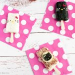 Hello Kitty Rice Popsicles - Easily shape your rice into popsicles by using a standard popsicle mold! Find out how at loveatfirstbento.com   bento box, character bento, cute food.
