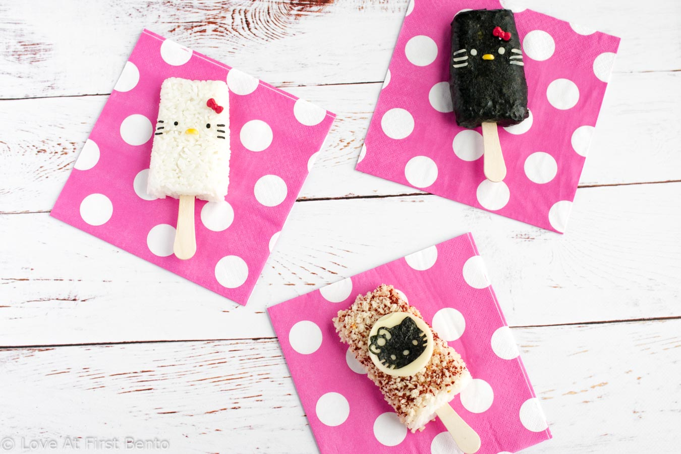 Hello Kitty Rice Popsicles - Easily shape your rice into popsicles by using a standard popsicle mold! Find out how at loveatfirstbento.com | bento box, character bento, cute food.