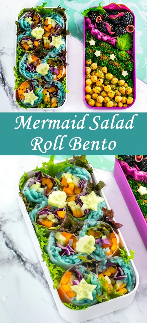 Mermaid Salad Rolls - Learn how to transform regular salad rolls into mermaid salad rolls, by filling them with mermaid noodles! 100% natural dye technique that is shockingly simple! Recipe at loveatfirstbento.com | bento box, bento, lunch box