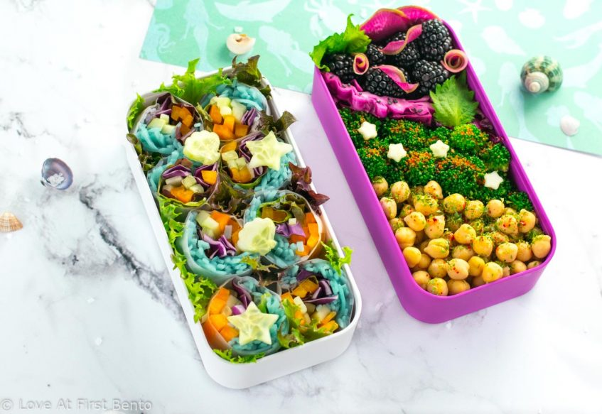 Mermaid Salad Rolls - Learn how to transform regular salad rolls into mermaid salad rolls, by filling them with mermaid noodles! 100% natural dye technique that is shockingly simple! Recipe at loveatfirstbento.com   bento box, bento, lunch box