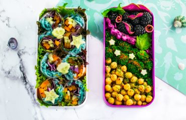 Mermaid Salad Rolls - Learn how to transform regular salad rolls into mermaid salad rolls, by filling them with mermaid noodles! 100% natural dye technique that is shockingly simple! Recipe at www.loveatfirstbento.com | bento box, bento, lunch box