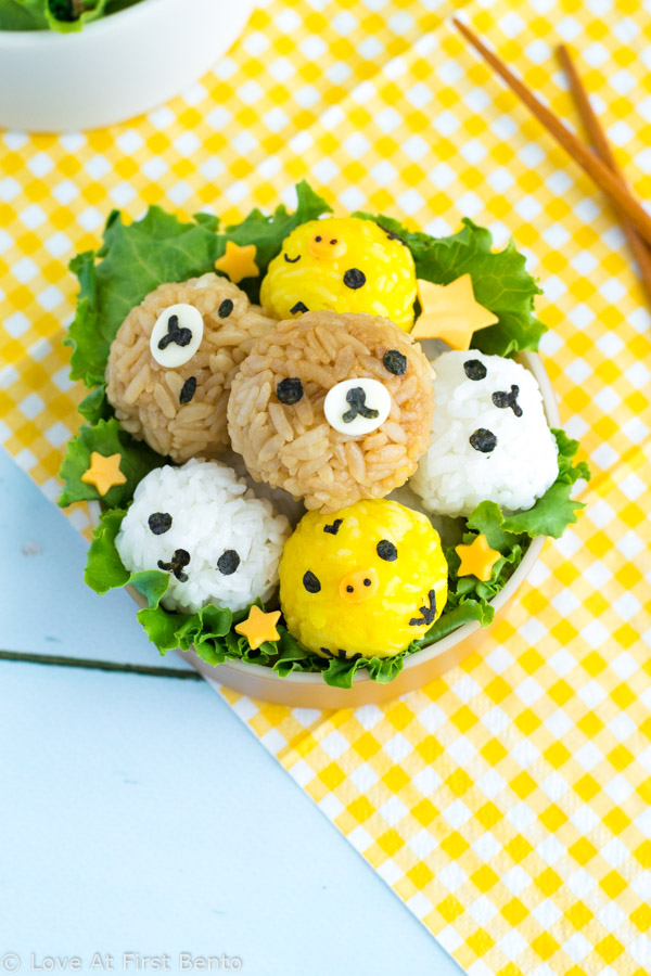 Rilakkuma rice balls are a must-have addition to any Rilakkuma fan's bento box! Easy to make, delicious to eat, and an adorable upgrade from plain white rice bentos. Video tutorial included! | loveatfirstbento.com