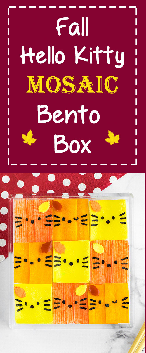 Fall Hello Kitty Mosaic Bento Box - This step-by-step recipe tutorial can be mastered by anyone, thanks to these 3 simple tips! A beautiful bento box lunch that's perfect for Hello Kitty fans of all ages. Get the recipe (with video tutorial) by visiting loveatfirstbento.com | autumn, kyaraben, character bento