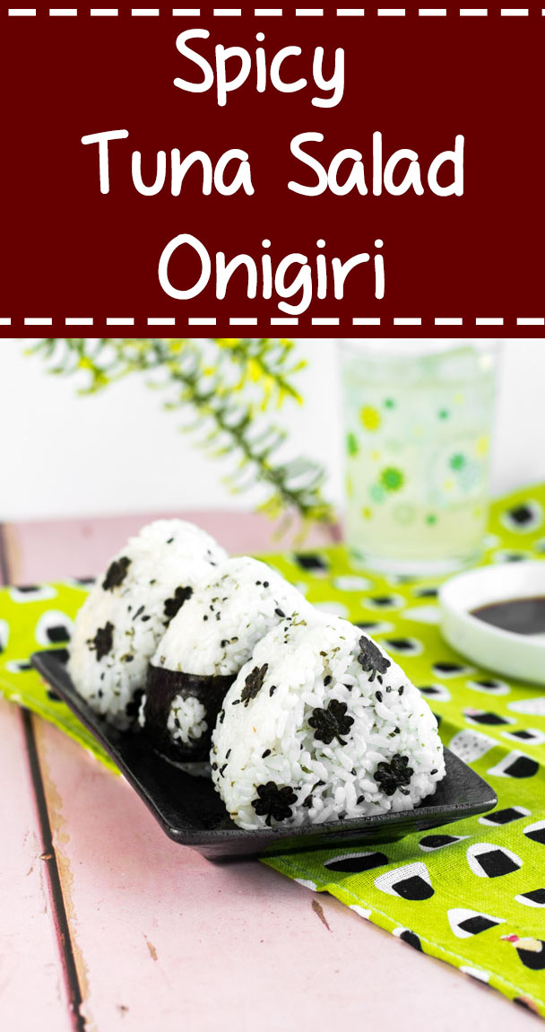 Spicy Tuna Salad Onigiri - These rice balls pack a serious flavor punch, thanks to the addition of sriracha! Learn how to make these easy and delicious rice balls at www.loveatfirstbento.com | bento box, lunch box