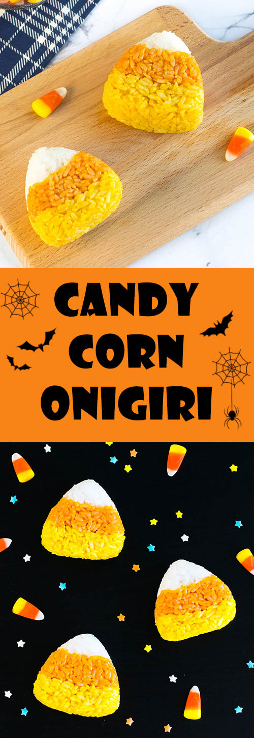 Candy Corn Onigiri (Rice Balls) - Easily transform your kid's bento box into a fun-filled Halloween lunch with these fun & festive onigiri! Find out how to make these 100% naturally colored rice balls with step-by-step instructions + video tutorial. A great, healthy alternative to regular Halloween candy! | loveatfirstbento.com [vegetarian, vegan]