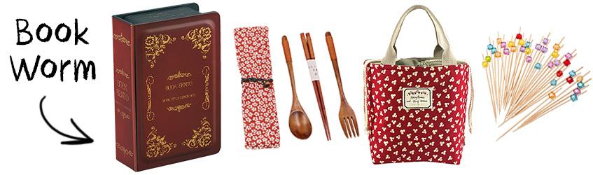 Book worm bento box Christmas gift set