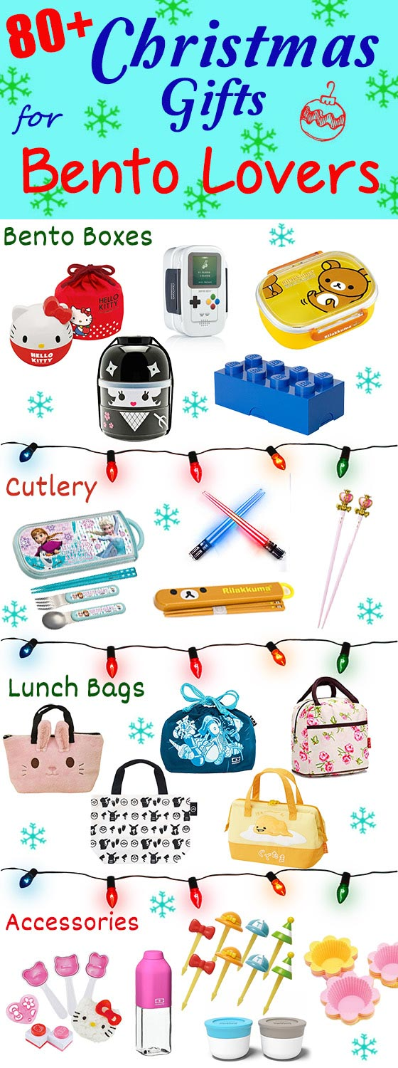 Holiday Gift Guide for Bento Enthusiasts - The ULTIMATE Christmas bento wish list with over 80 unique bento items to choose from, including bento boxes, cutlery, lunch bags, and tools & accessories. Choose from 20 different themed bento box gift packs, with themes ranging from Hello Kitty, Totoro, Pokemon, Star Wars, Gudetama, Sailor Moon, Disney, & many more! | loveatfirstbento.com {black Friday, Xmas, lunchbox, shopping guide, gift ideas}