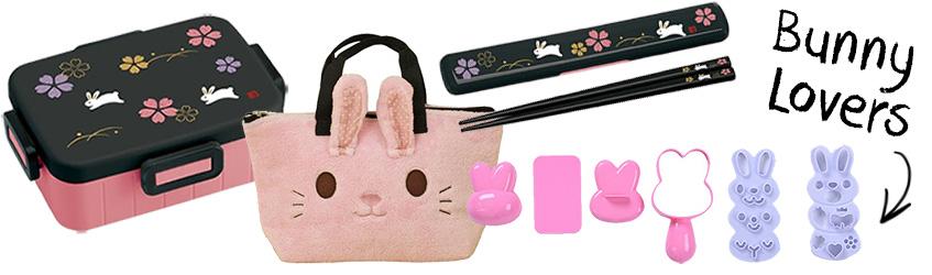 Bunny rabbit bento box Christmas gift set