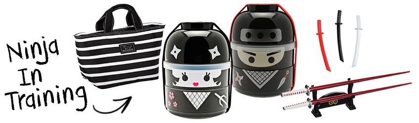 Ninja boy & girl bento box Christmas gift set