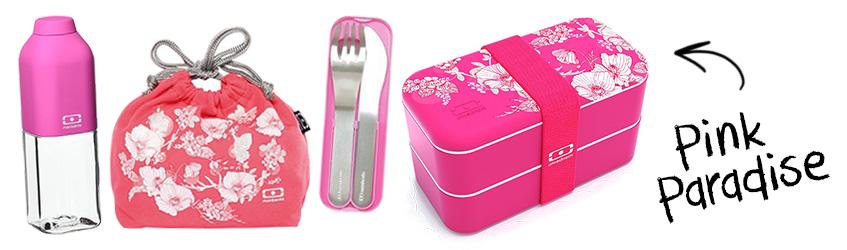 Pink Paradise Monbento Coral Floral bento box Christmas gift set