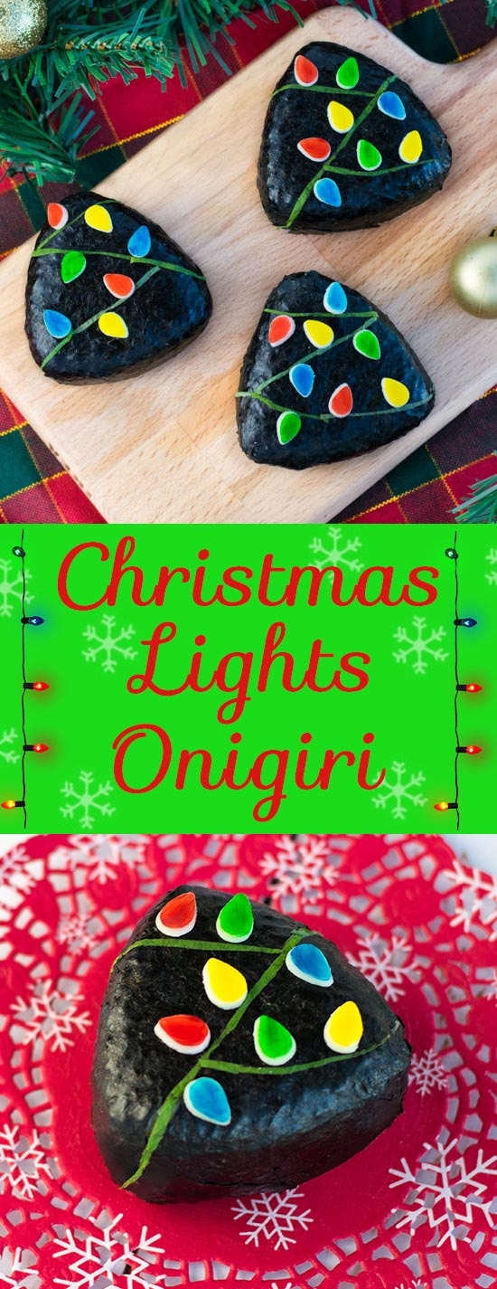 Christmas Lights Onigiri - These bright & festive rice balls are perfect for bento box lunches, holiday parties, and Christmas themed appetizers! Filled with a crazy addictive chestnut & brussels sprouts filling, learn just how fun & easy making and decorating these onigiri are with an easy to follow video tutorial + step-by-step instructions. | loveatfirstbento.com